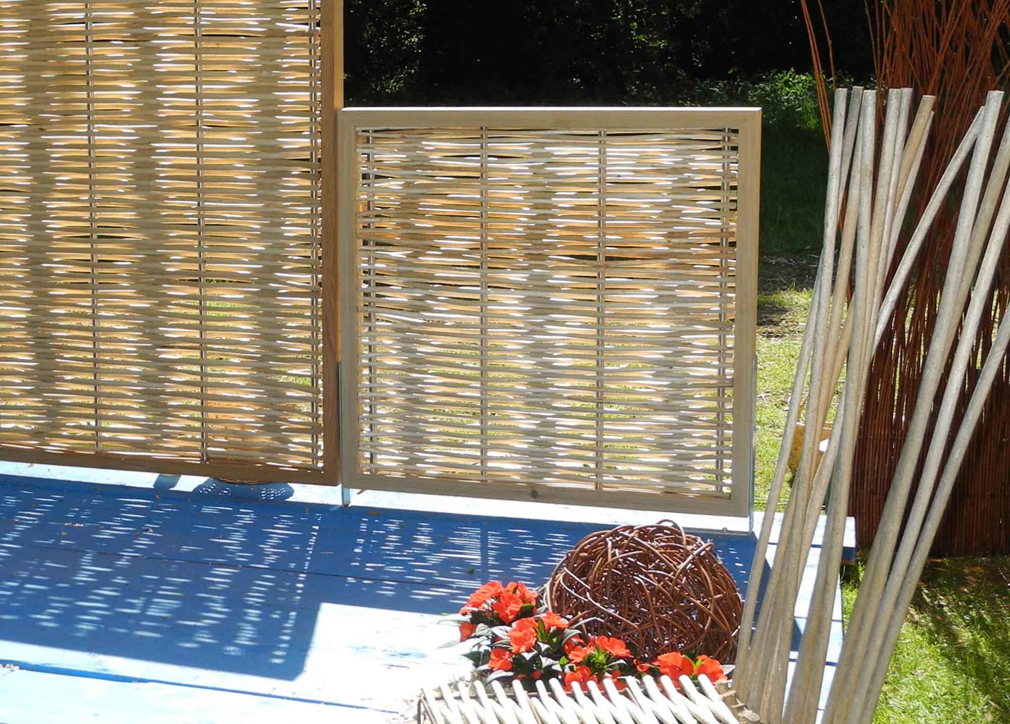 sichtschutz aus l rche weide und edelstahl beste qualit t. Black Bedroom Furniture Sets. Home Design Ideas