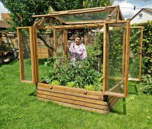 Tomatenhaus mit früher Bepflanzung und Frau im Hintergrund
