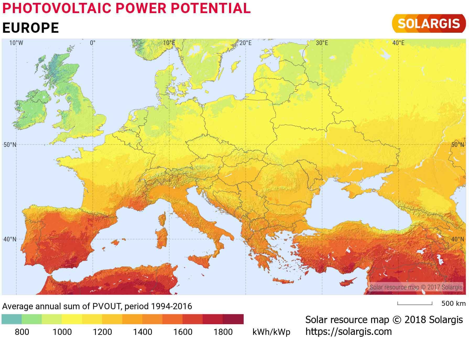 Strahlungsintensität durch Sonneneinstrahlung in Europa